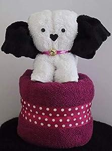 Hund/Handtuch-Tier - weiß auf pink, Handtuchfigur