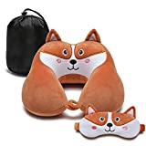 Travel Pillow for Kids and Adults, Cute Animal Memory Foam Neck Pillow with Soft Fleece Cover and Eye Mask Set, Airplane Pillow Travel Kit with Drawstring Organizer Bag, Machine Washable (Puppy)