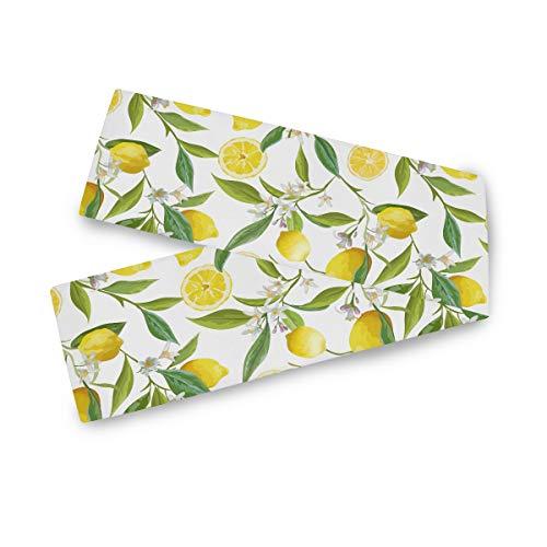 TropicalLife F17 - Camino de mesa rectangular con hojas de flores de limón, 33 x 177 cm, poliéster, para decoración de bodas, cocina, fiestas, banquetes, comedores, mesas de centro