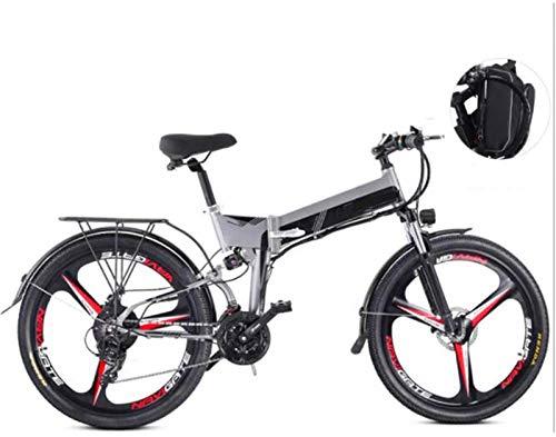 Leifeng Tower Alta Velocidad Bicicletas 26 Pulgadas eléctricos, 48V 10.4Ah Montaña Boost Bicicletas Hombres Mujeres Bike (Color : Gray)