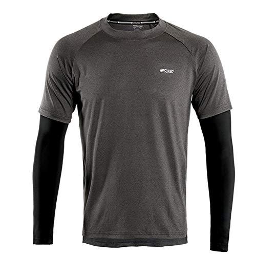 GITVIENAR T-shirt de sport fonctionnel pour homme avec caractère satiné Différents modèles de haut de gamme, Homme, Noir , EU M ( Fehlschlag: 85-90CM)