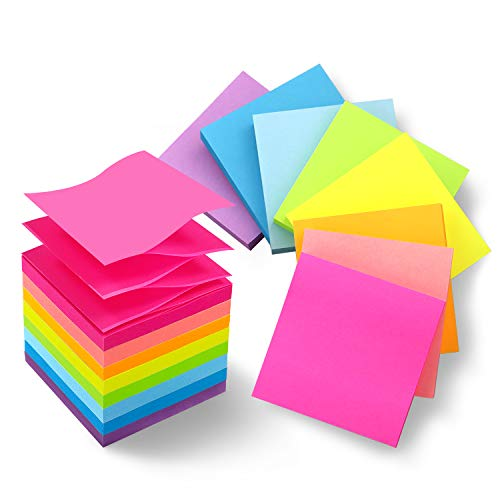 8 Pads Pop Up Sticky Notes 3x3 Refills Bright Colors Self-Stick Notes Pads Super Adhesive Sticky Notes Great Value Pack