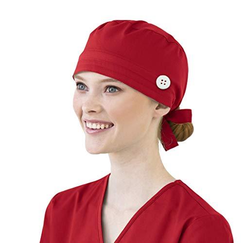 UNHU OP Haube Arbeit Peeling Cap Baumwolle Verstellbar Kochmütze Staubmütze Einfarbig Chirurgische Kappe Stoff Bandana für Frauen Männer (Rot)
