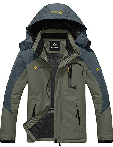 Mens Mountain Snow Rain Waterproof Army Green Ski Jacket with Hood