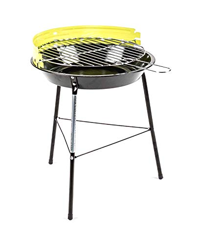 BBQ Collection Holzkohlegrill rund Ø 33 cm, Campinggrill, verchromter Grillrost, Grillrost mit abnehmbaren Griff, Lime-Green (Lime-Green)
