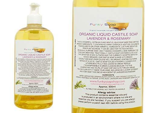 Funky Soap Organique Liquide Savon de Castille, Lavande/Romarin 100% Naturel sans Laureth Sulfate de Sodium 500ml