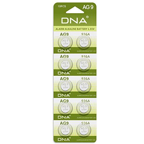DNA 10 pilas AG9 L936 394 LR45 de 1,5 V (paquete de 10).