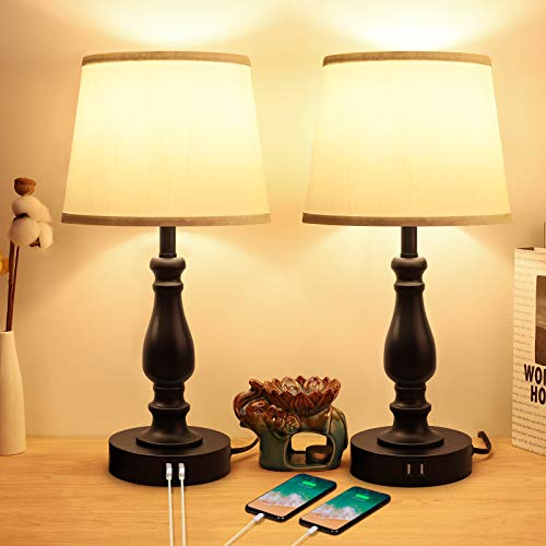 Touch Control Bedside Lamps with 2 USB Charging Ports, 3 Ways Dimmable Nightstand Lamps with A19 6W LED Bulb, USB Modern Table Lamps with Fabric Shade for Bedroom, Living Room, Office Set of 2