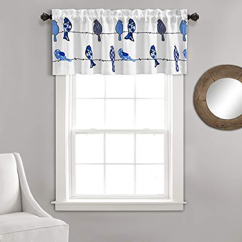 "Lush Decor, Navy Rowley Birds Curtain Valance (Single Panel), 18"" x 52 L"