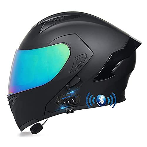 LIRONGXILY Casco Moto Modular Casco Integral Casco Moto Bluetooth Integrado Modular Casco de Moto con Doble Visera para Hombre o Mujer ECE Homologado (Color : C, Size : 59-60CM(L))
