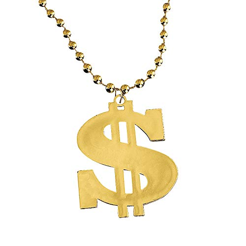 Fun Express Dollar Sign Gold Bead Necklaces (Set of 12) Mardi Gras and Party Supplies