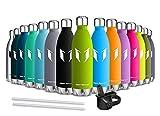 Super Sparrow Trinkflasche Edelstahl - 350ml & 500ml & 750ml - Auslaufsicher Thermosflasche - Doppelwandig Vakuum Isoliert Thermoskanne - Sport Trinkflaschen | Ideale Flasche - 2 Deckel