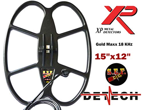 """DETECH Search Coil For XP GoldMaxx Power 18KHz Metal Detectors With Coil Cover Included (15x12\"""")"""