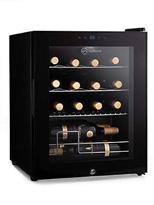 Subcold Viva16 LED – Table-Top Wine Fridge Black | 3-18°C | Wine Cooler | LED + Lock & Key | Glass Door Drinks Cellar | Single-Zone (16 Bottle) from Subcold