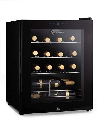 Subcold Viva16 LED – Table-Top Wine Fridge Black | 3-18°C | Wine Cooler | LED + Lock & Key | Glass Door Drinks Cellar | Single-Zone (16 Bottle)
