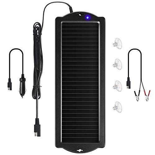Sunway Solar Car Battery Trickle Charger & Maintainer 12V Solar Panel Power Battery Charger With Cigarette Lighter Plug Battery Clamp For Car Automotive Motorcycle Boat Marine Snowmobile Watercraft RV