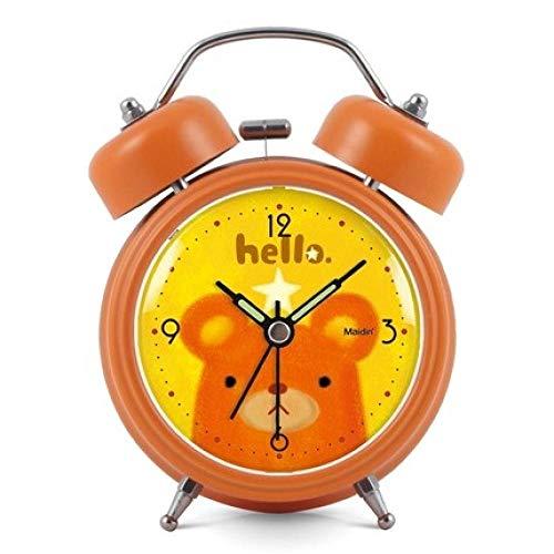 FPRW Niedlicher Cartoon-Wecker, stummer doppelter Glockenklingeln-Aufwach-Nachttischuhr, leuchtender kreativer Wecker der einfachen Kunst, orange Bär