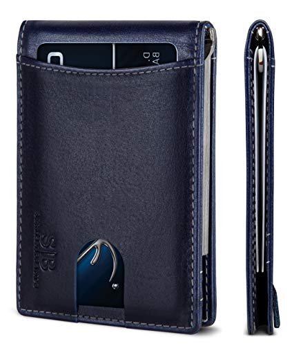 SERMAN BRANDS RFID Blocking Slim Bifold Genuine Leather Minimalist Front Pocket Wallets for Men with Money Clip (Atlantic Blue 1.0)
