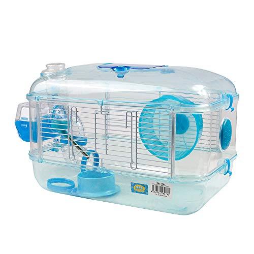 DLZ ® Jaula para Hamster de plástico Duro, caseta Bebedero comedero Rueda Todo Incluido (1 Piso, 2 Piso, 3 Piso) (1 Piso, Azul Cielo)