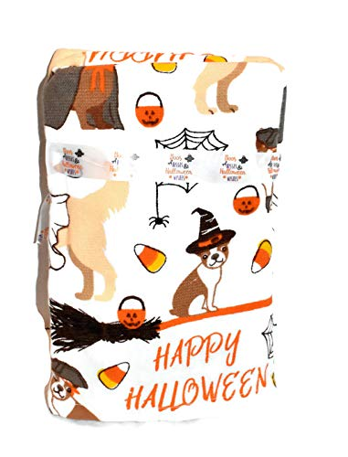 New 2pc Set FRENCHI French Bulldog LAB Dogs Dressed in Halloween Costumes with Pumpkins & Candy Corn Kitchen OR Bathroom Dish Hand Towel