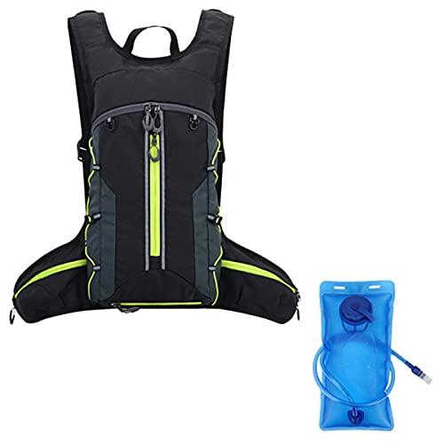 LGQ Zaino Idrico Sacca Idrica 2l Pieghevole con Strisce Riflettenti Zaino Idrico con Sistema di Idratazione per Uomo E Donna Escursionismo Adatto Zaino da Corsa Leggero,Black Green