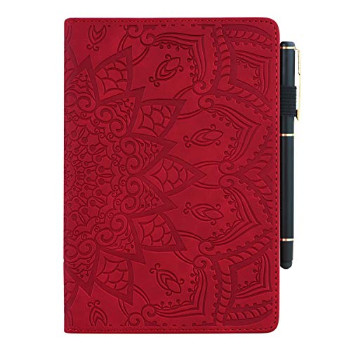 Lspcase Huawei Mediapad T5 10 Hülle PU Leather und Soft Silicone TPU Cover Stand Function Flip Wallet Hülle Card Slots Pen Holder Tablet Hülle for Huawei Mediapad T5 10 10.1 Inch - Red Mandala Flower