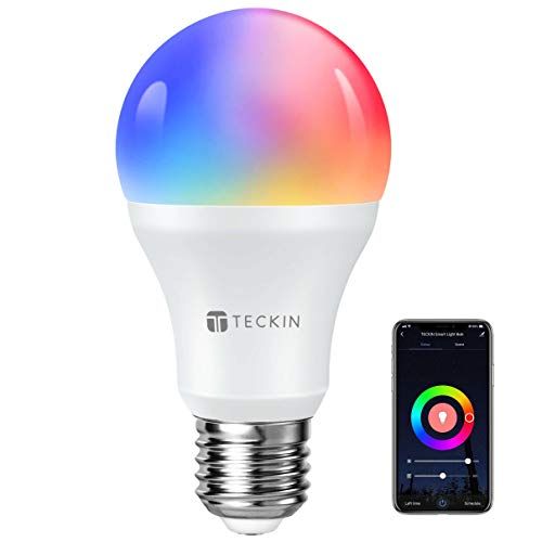 TECKIN Bombilla Inteligente Alexa Led Wifi con luz cálida 2800k-6200k + Rgb lámpara color cambiable Funciona con móvil, Google Home, E27 7.5W (no se requiere hub)A](1 Pack)