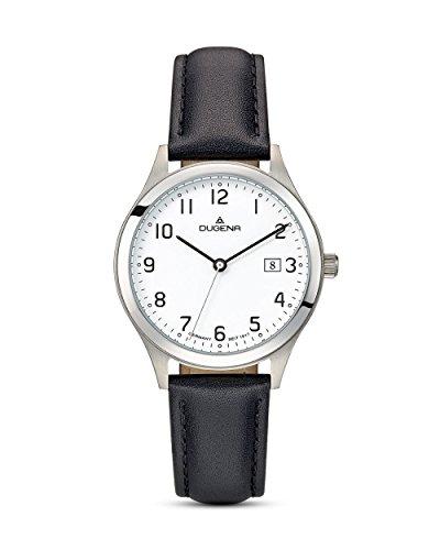Dugena Herren Armbanduhr Senator Leder 37mm silber/schwarz
