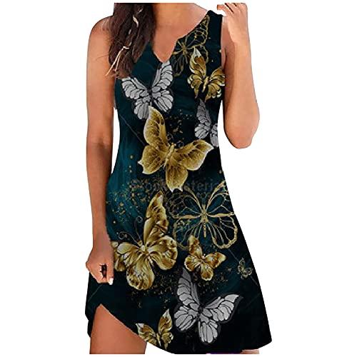 855 Summer Dresses for Women Cute White Sundress Casual Sleeveless O-Neck T-Shirts Dress Boho Print Mini Beach Jumper Skirt