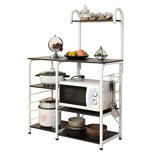 RAAMZO 5-Tier Black Metal Cappuccino Finish Shelf Kitchen Bakers Rack Scroll Design with 5 Bottles Wine Storage