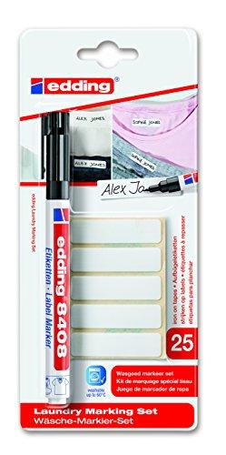 edding 8408 Label Marker - Wäsche-Markier-Set - Zum dauerhaften Beschriften und Markieren von Textilien und Kleidung - Farbe: Schwarz