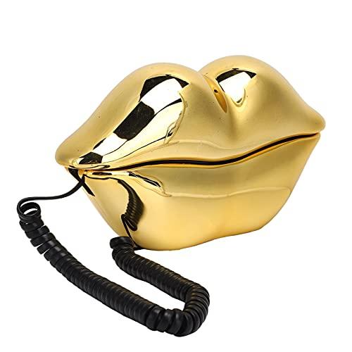 Teléfono Fijo, teléfono con Cable con Forma de Labio Dorado galvanizado con línea telefónica, función de Almacenamiento de números, Regalos para Amigos, familias