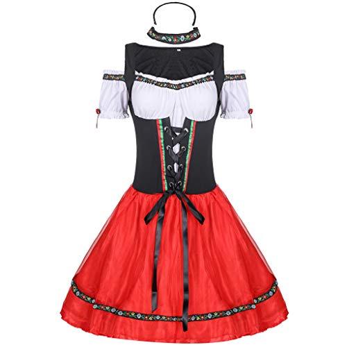 SCHOLIEBEN Robe De Festival De BièRe Bavaroise Traditionnelle pour Femmes Et Coiffure Costumes Cosplay Plage ÉLéGant Boheme Floral FêTe ÉTé Plage Ete Chic Pas Cher(Rouge,XL
