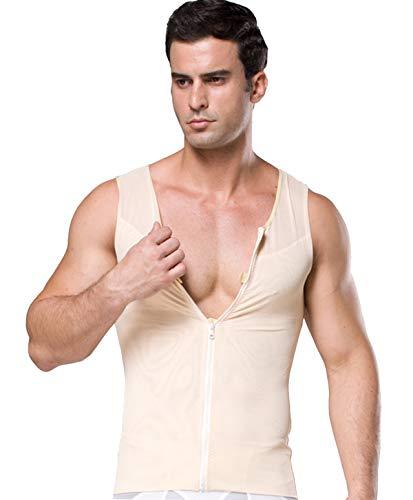 FEOYA Kompressionsunterwäsche Figurformendes Unterhemd Zipper Herren Tank Sport Fitness Bodyshaper Top Bauchweg Body Shaper für Männer-Beige-XL
