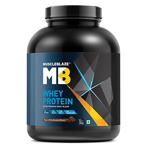 MuscleBlaze 100% Whey Protein, Ultra Premium Whey Blend (Rich Milk Chocolate, 2 kg / 4.4 lb, 60 Servings)