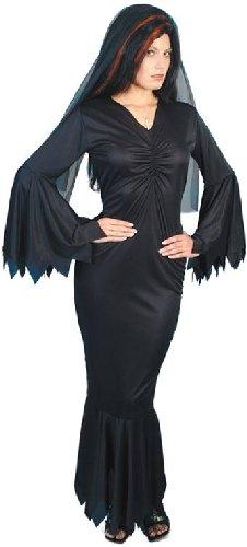 Smiffys-21777M Halloween Disfraz de vampiresa de Medianoche, con túnica, Color Negro, M-EU Tamaño 40-42 (Smiffy'S 21777M)