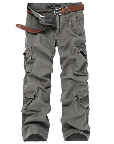 Elonglin Herren Retro Cargohosen Arbeitshose Lose Baumwolle Outdoors Sport Freizeithose Multi-Taschen (ohne Gürtel),Braun-grün,DE 38 (Asie 40)