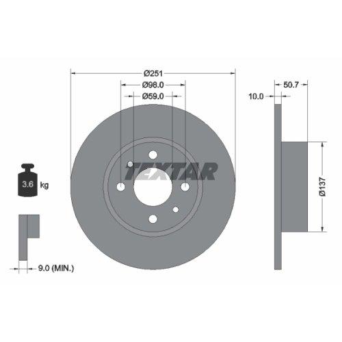 Preisvergleich Produktbild TEXTAR 92034203 Bremsscheibe,  Set of 2