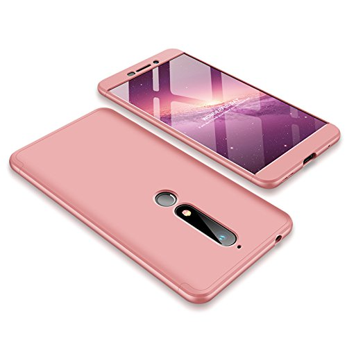 JMGoodstore Hülle Kompatibel Huawei Honor 6X/GR5 2017,+Panzerglas Bildschirmschutzfolie,3 in 1 Ultra Dünn 360 Full Body Anti-Kratzer Hart PC Skin Glatte Rückseite Bumper Rose Gold