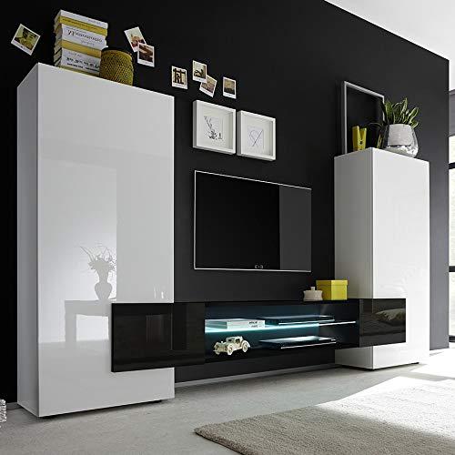 Kasalinea - Conjunto de muebles para TV (lacada brillante), color blanco y negro: Amazon.es: Hogar