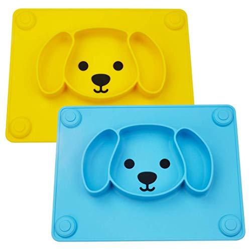 Baby Teller Rutschfeste Saugfütterungsplatte für Kleinkinder Babys Kinder Tischset mit Saugnäpfen BPA-frei, FDA-geprüft, Spülmaschinen-und mikrowellengeeignet