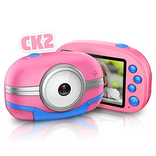 richgv Macchina Fotografica per Bambini, Fotocamera Digitale con Memoria Integrata, Portatile WiFi Sharing Videocamera, 2,8 Pollici,1080P HD Kids Camera (Rosa)