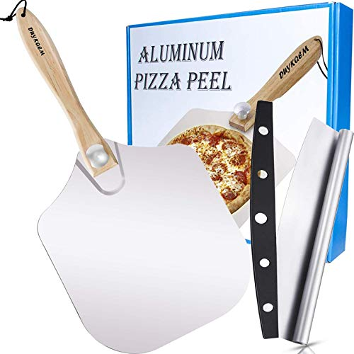 """DUYKQEM Aluminum Metal Pizza Peel - (12 inch X 14 inch) and 14"""" Cutter Rocker Blade, Pizza Spatula Paddle Long Handle, Best Pizza Oven Accessories Set for Homemade Baking Pie & Bread Indoor or Outdoor"""