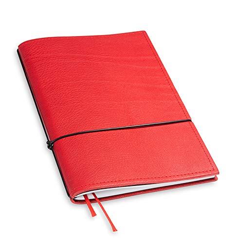 A5-revolutionär und 9 mm dünn! X17-Notizbuch! Leder rot, Innen: Notizheft (gepunktet) + Doppeltasche + Lesezeichen; austauschbar=nachhaltig! Made in Germany, 17 Jahre Garantie*