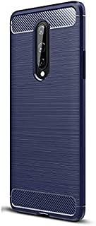 Oneplus 8 Brushed Carbon Fiber Texture All-Inclusive Anti-Fall Mobile Phone Case Cover - Blue