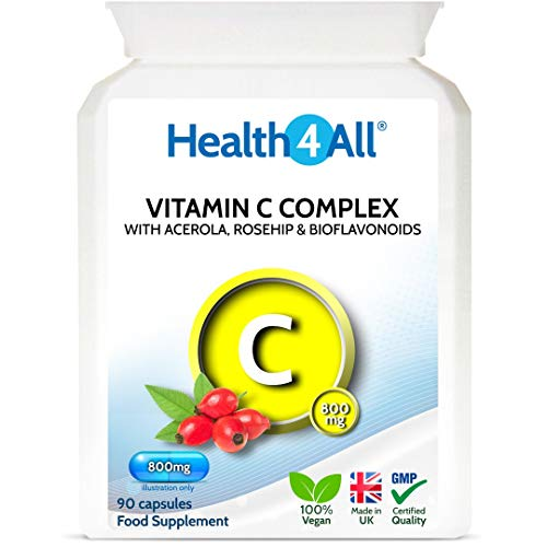Vitamin C Complex 800mg with Bioflavonoids, Rose Hip & Acerola 90 Capsules (V) Vegan. Made by Health4All