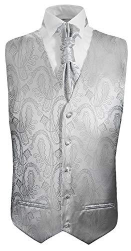 Paul Malone Hochzeitswesten Set 5tlg Silber Paisley - Herren Anzug Hochzeit Weste - Gr. 46/48 XS