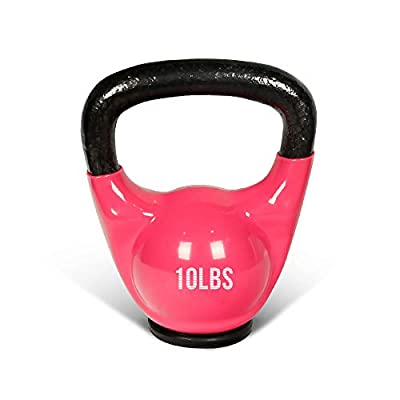 MBAT Vinyl Coated Kettlebells with Thick Rubber Base- Cast Iron Strength Training Fitness Weight Available: 10, 15, 20, 25 LBS from MBAT