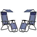 AA-SS Zero Gravity Chair Folding Garden chair-2-piece Suite Lounge Chairs Extra Wide Garden Folding Recliner Outdoor Patio Beach Chairs with Headrest Adjustable Reclining