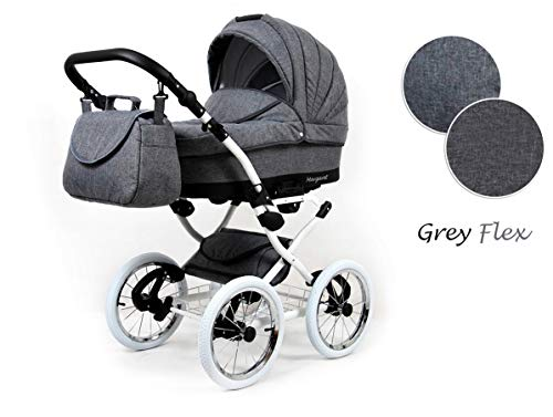 Kinderwagen 3in1 Retro Autositz Buggy Isofix Luftreifen Nostalgica by Saintbaby Grey Flex 2in1 ohne Babyschale